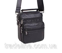 Мужская кожаная сумка Dovhani 1-501015 Черная 17.5 х 14 х 8см, фото 2