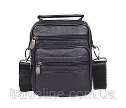 Мужская кожаная сумка Dovhani 1-501015 Черная 17.5 х 14 х 8см, фото 3