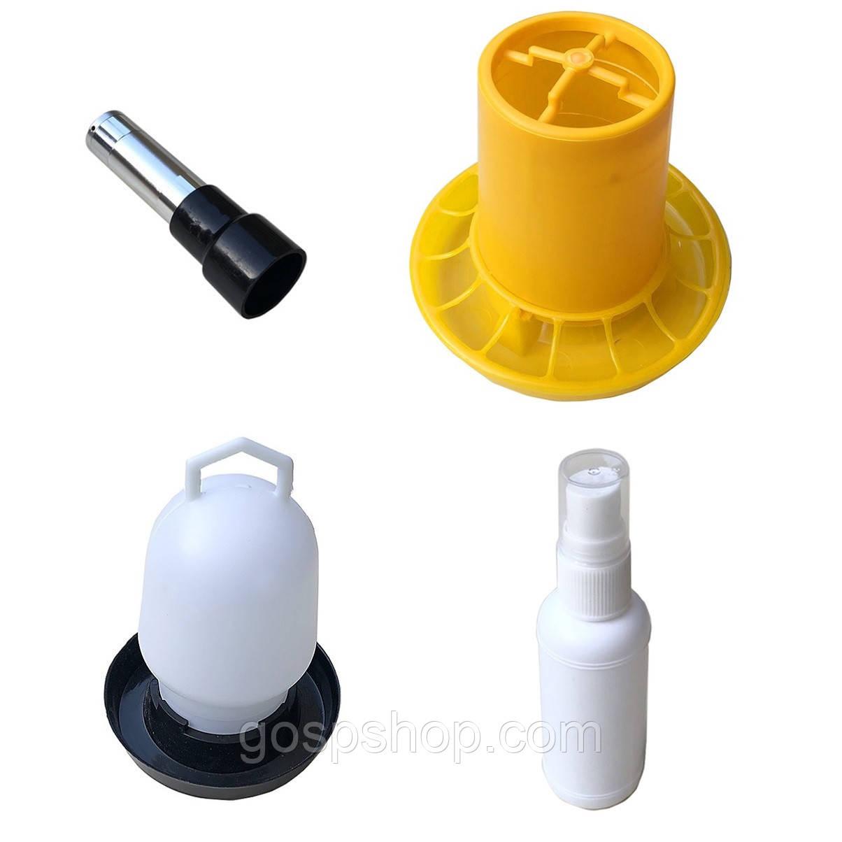 Набор птицевода - овоскоп светодиодный, поилка, кормушка, распылитель