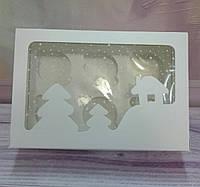Коробка для капкейков белая,  с окошком на 6 шт Новый Год, фото 1