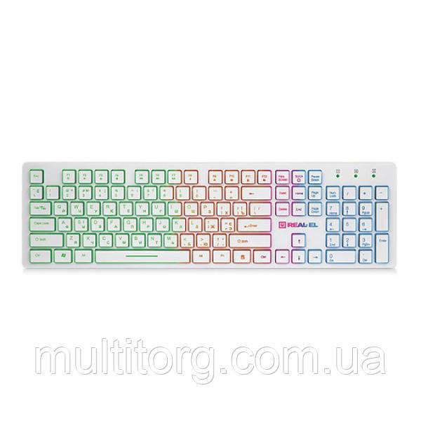 Клавиатура REAL-EL Comfort 7070 Backlit USB белая с подсветкой уценка
