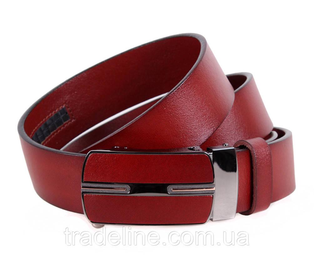 Мужской кожаный ремень Dovhani MGA101-1444 105-125 см Бордовый