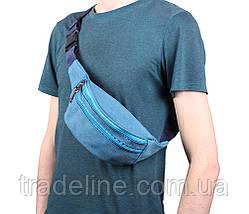 Сумка текстильная на пояс Dovhani Q001-177SBLUE Голубая, фото 2
