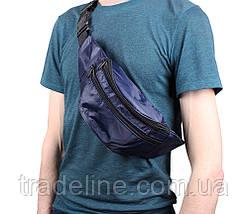 Сумка текстильная на пояс Dovhani Q00850-1DBLUE Синяя, фото 2