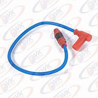 Провод высоковольтный  0.55 м синий + насвечник красный