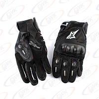 Мотоперчатки кожаные черные Alpinestars, М (со вставками)
