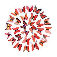"""Бабочки 3D 30 шт. """"Радужные"""" на магните красные"""