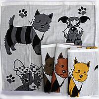 Качественное полотенце банное 100% хлопок с собачками