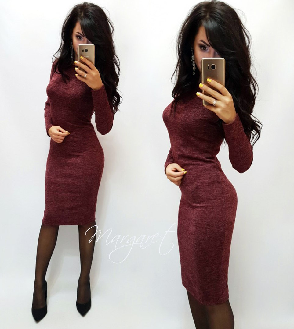Женское зимнее осенне облегающее платье трикотаж бордо черное серое S M