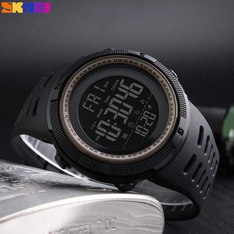 Skmei 1251 Amigo черные с коричневым спортивные мужские часы