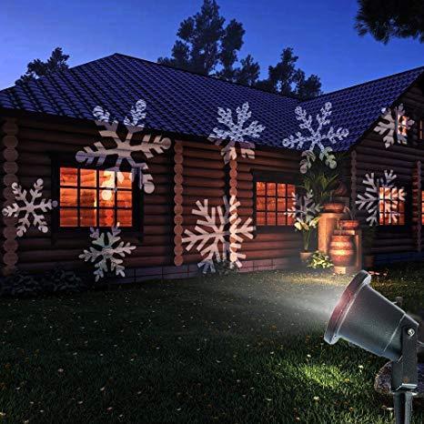 """Декоративный уличный светодиодный проектор OutdoorLawn Snowflake Light """"Снежинки"""""""