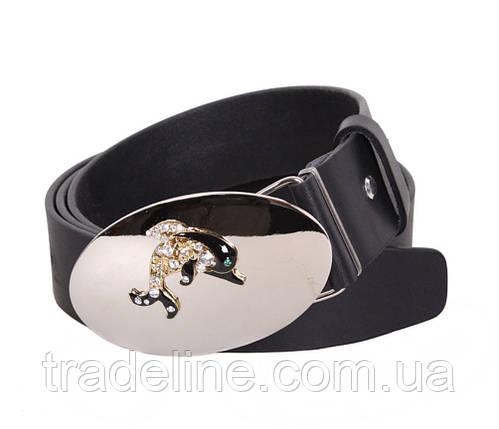 Женский кожаный ремень Dovhani QS2203-6668 115-125 см Черный, фото 2