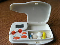 Таблетница электронная на 2 приема контейнер для таблеток, фото 1