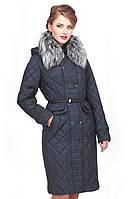Стильное молодежное пальто  удлиненное с натуральным мехом