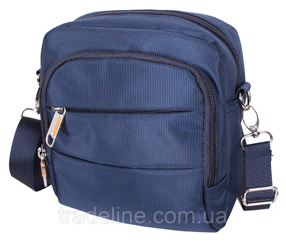 Сумка текстильная мужская Nobol 6339-45BLUE Синяя 20 x 17 x 7-9 см.