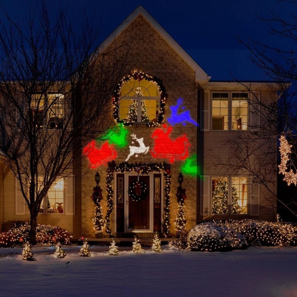 Декоративный уличный светодиодный проектор Outdoor Projection LED Light + 12 картриджей