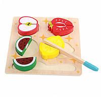 Деревянная развивающая игра фрукты на липучках с ножом, фото 1