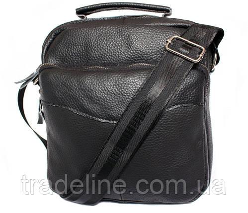 Мужская кожаная сумка Dovhani BL30012437 Черная 27 x 25 x 9 см, фото 2