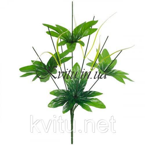 Нога букетная 8-ка с крупным листом и светлой травкой, 43см