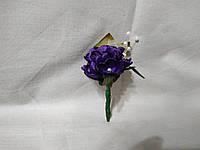 Бутоньерка для гостя на свадьбе темно-фиолетовая