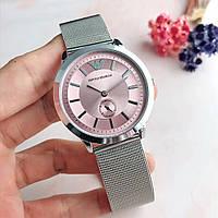 Мужские\ Женские наручные часы в стиле Emporio Armani Серебро с розовым\TOP качество\