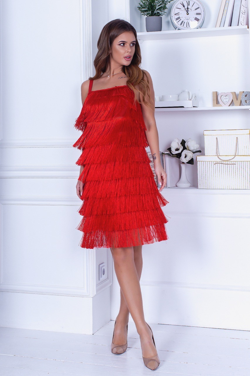 Женское вечернее платье бахрома костюмка белое черное красное 42-44 44-46