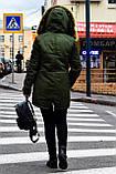 Зимняя куртка парка хаки на меху, фото 4