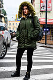 Зимняя куртка парка хаки на меху, фото 5