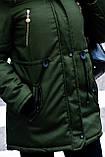 Зимняя куртка парка хаки на меху, фото 6