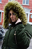 Зимняя куртка парка хаки на меху, фото 9