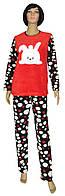 NEW! Оригинальные женские пижамы с вышивкой - серия Зайчик флис / махра синяя с красным в горох ТМ УКРТРИКОТАЖ!