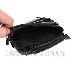 Мужская кожаная сумка Dovhani BL3016156 Черная 19 x 15 x 7 см, фото 3