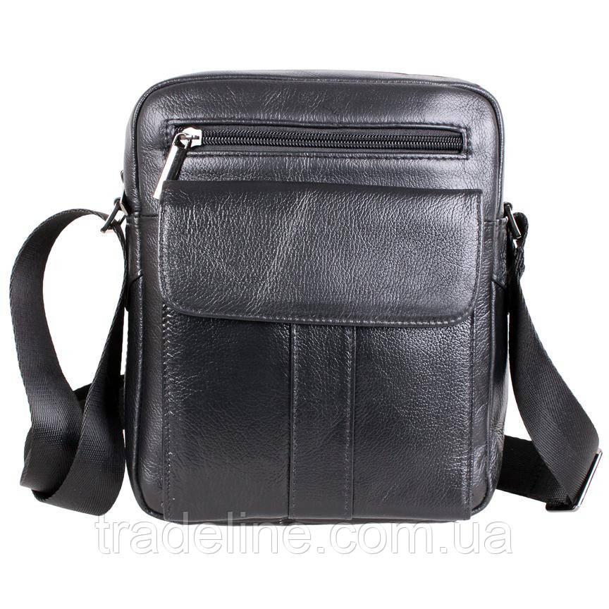 Мужская кожаная сумка Dovhani BL30115-2258 Черная 22 x 19 x 8 см