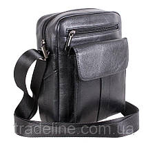 Мужская кожаная сумка Dovhani BL30115-2258 Черная 22 x 19 x 8 см, фото 2