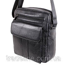 Мужская кожаная сумка Dovhani BL30115-2258 Черная 22 x 19 x 8 см, фото 3