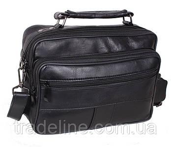 Мужская кожаная сумка Dovhani SW202275 Черная 21 x 26 x 10 см