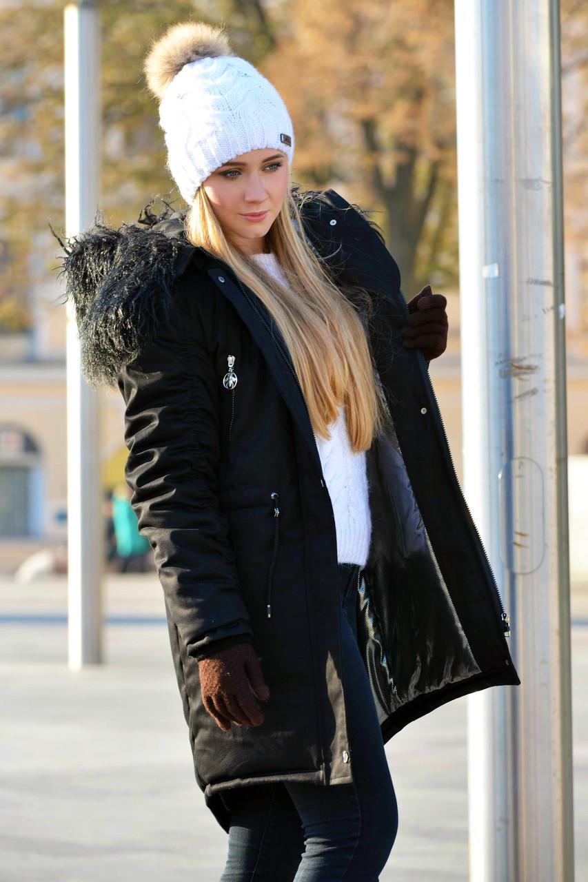 Зимняя женская куртка парка на меху (лама) черная