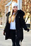 Зимняя женская куртка парка на меху (лама) черная, фото 2