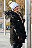 Зимняя женская куртка парка на меху (лама) черная, фото 3