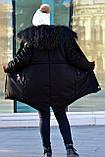 Зимняя женская куртка парка на меху (лама) черная, фото 4