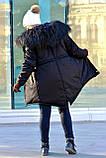 Зимняя женская куртка парка на меху (лама) черная, фото 6