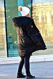 Зимняя женская куртка парка на меху (лама) черная, фото 8