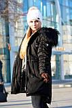 Зимняя женская куртка парка на меху (лама) черная, фото 9