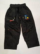 Штани на хлопчика з плащової тканини на флісі арт 622 чорні XL,2XL