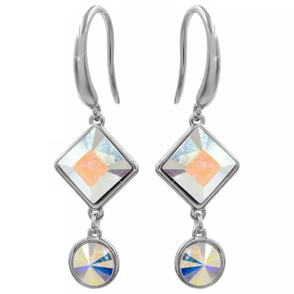 Серьги (крючки) с кристаллами Swarovski Ромбик + круг родиум (Медицинская сталь)