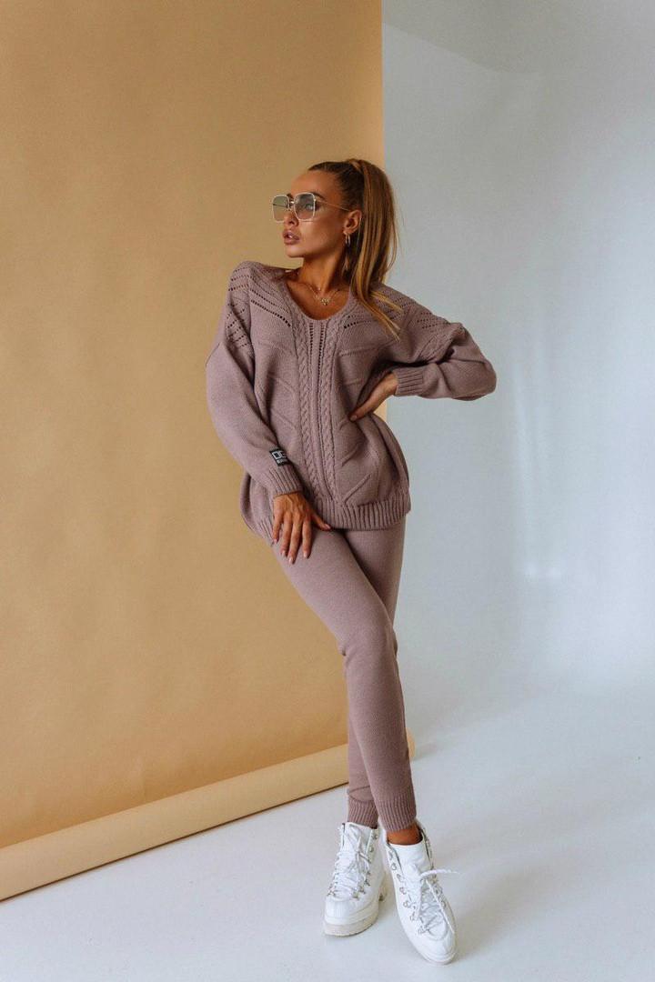 Костюм теплый женский вязаный штаны и кофта OG