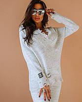 Стильний костюм теплий жіночий в'язаний штани і кофта, фото 3