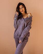 Стильний костюм теплий жіночий в'язаний штани і кофта, фото 2
