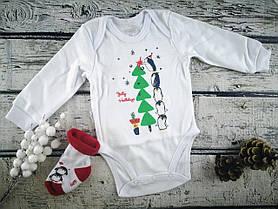 """Детский комплект """"Новый год"""" Боди + Носочки махра Белый Хлопок GABBI Украина 86, Белый, Унисекс"""