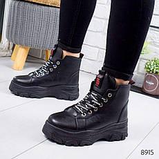 """Ботинки женские зимние, черного цвета из эко кожи """"8915"""". Черевики жіночі. Ботинки теплые, фото 3"""